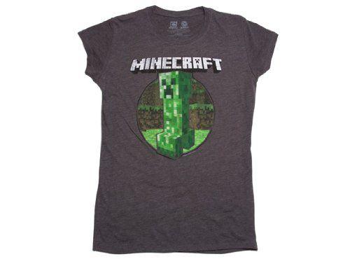 Minecraft Retro Creeper Juniors's Charcaol T-shirt L JINX http://www.