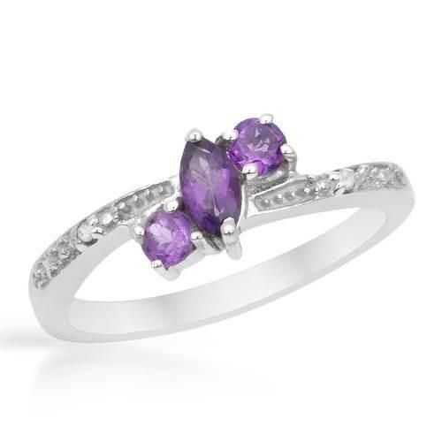 Silver Ring With    Diamonds - Size 7    Stylish ring with precious stones, genuine amethysts and diamonds beautifully designed in 925 sterling silver. Total item weight 2.7g. Size 7. Gemstone info: 3 amethysts, 0.30ctw., multi-shaped and purple color, 2 diamonds, 0.01ctw., with round shape and I color. Clarity: I2.