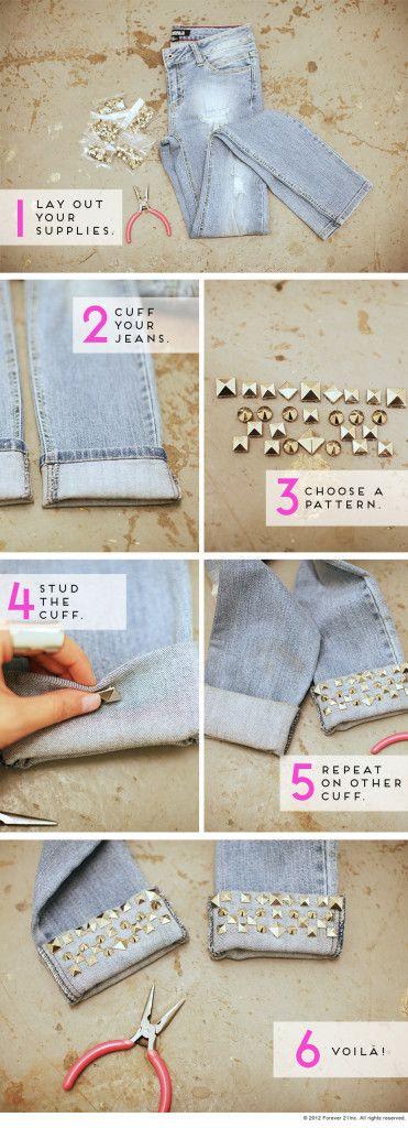 Spar eine Menge Geld und gib deinen alten Jeans einen neuen Look - Nieten auf dem Hosenaufschlag