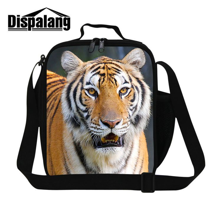 Dispalang 3D tiger printing thermal insulated lunch bag patterns for boys kids food bag personalized lunch bags for men lunchbox #Affiliate