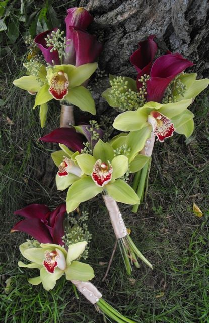 Burgundy Wine Calla Lily and Green Cymbidium Orchid Bridesmaid Bouquets