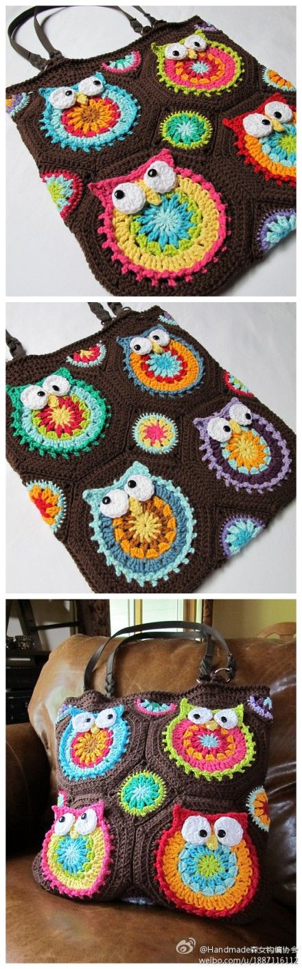 Owl crochet bag. Want to try it!