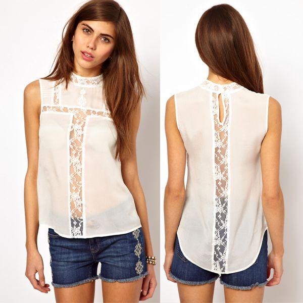 blusas de chifon con cuello sin mangas - Buscar con Google