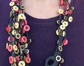 Necklace with colored buttons