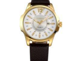 Elegantné hodinky CURREN s hnedým koženým náramkom