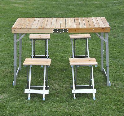 5tlg Campingtisch Set Picknick Tisch Koffertisch  Klapptisch Sitzgruppe Holz Alu
