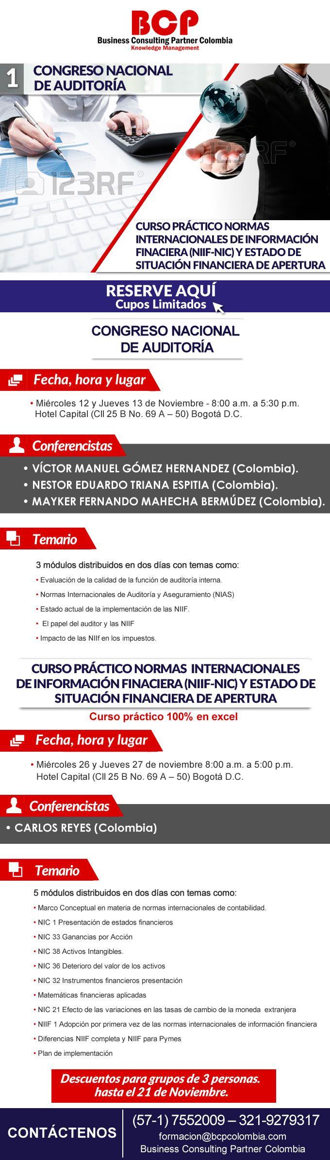 #NOVOCLICK esta con @BCPColombia #Congreso nacional de auditoria #Curso práctico normas internacionales de información financiera (niif-nic) y estado de  situación financiera de apertura
