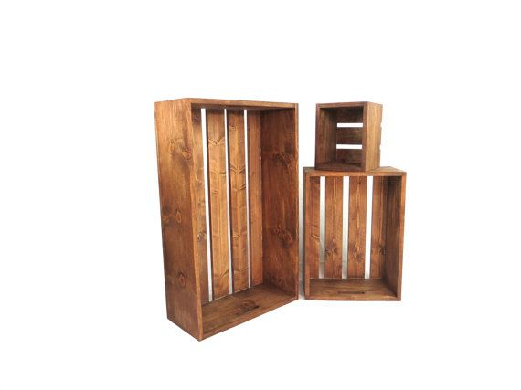 oversized rustic wood crate set with built in handles 3 large wooden crate setu2026