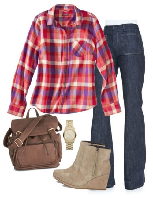 Be sure to check out this Casual Fall Outfit for Women with Trendy Flannel Top, Wide Leg Jeans, Toms Wedge Booties, and Michael Kors Watch for Fall Fashion!