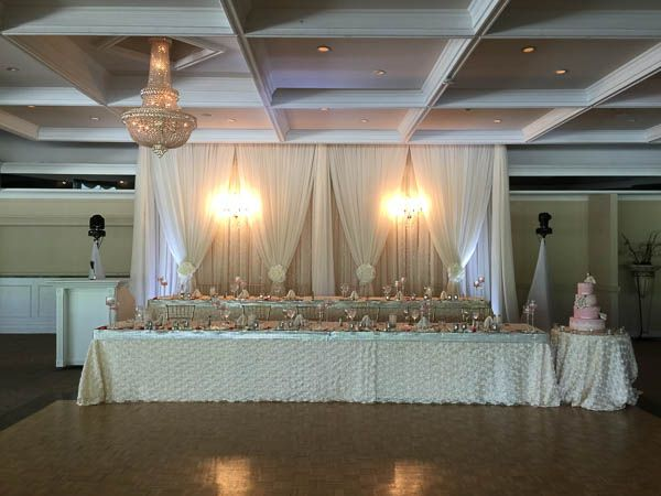 Head table with chandelier.  Richmond Hill Country Club Wedding.