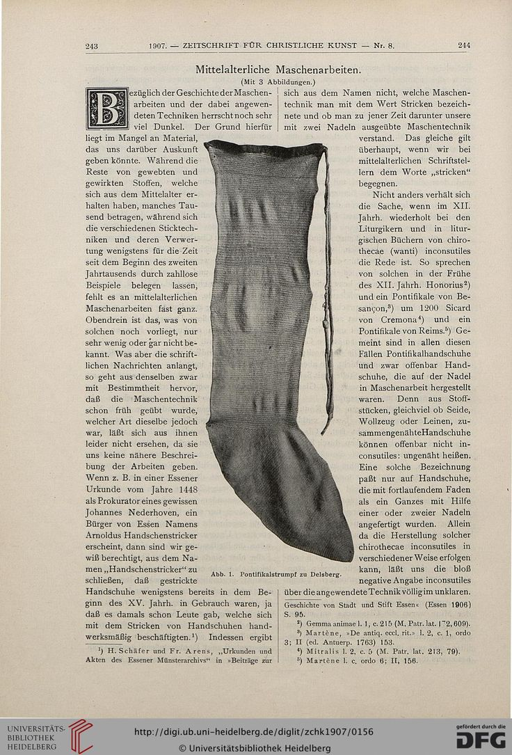 """1907 article about the naalbinded, linen stockings from 12th century Delsberg/Delémont, Switzerland. The entire article can be downloaded for free from the University of Heidelberg."""