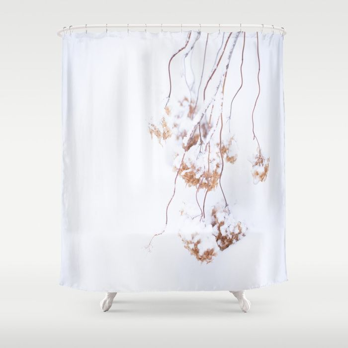 Snowy Hydrangea On A Snow Background #decor #society6 Shower Curtain