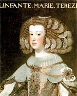Maria Theresa of Spain (10 September 1638 – 30 July 1683) was Queen of France and Navarre as the first wife of King Louis XIV. Famed for her virtue and piety, she was only barely able to fulfill her duty as queen by producing a male heir to the throne, since five of her six children died in early childhood. She is frequently viewed as an object of pity in historical accounts of her husband's reign, since she had no choice but to tolerate his many illicit love affairs.