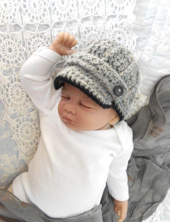 Newsboy Hat baby boy photo prop hat grey by TheStitcheryBoutique, $22.00
