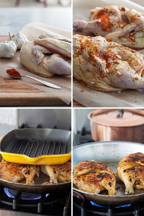 Russian Monday: Family Dinner - Cornish Hens Under a Brick, Roasted Potato & Cucumber Salad at Cooking Melangery