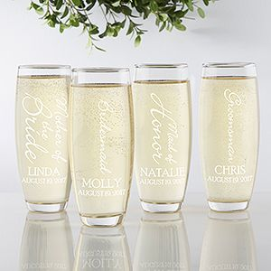 """LOVE these Personalized Wedding Glass Stemless Champagne Flutes - this """"Bridal Brigade"""" design is so cute! You can personalize it for every one in the wedding party!"""