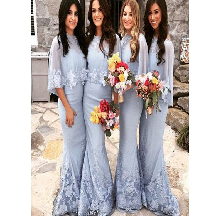 2017 Winter Wedding Party Blue Modest Elegant Bridesmaid Dress The Long Dresses Are Fully Lined