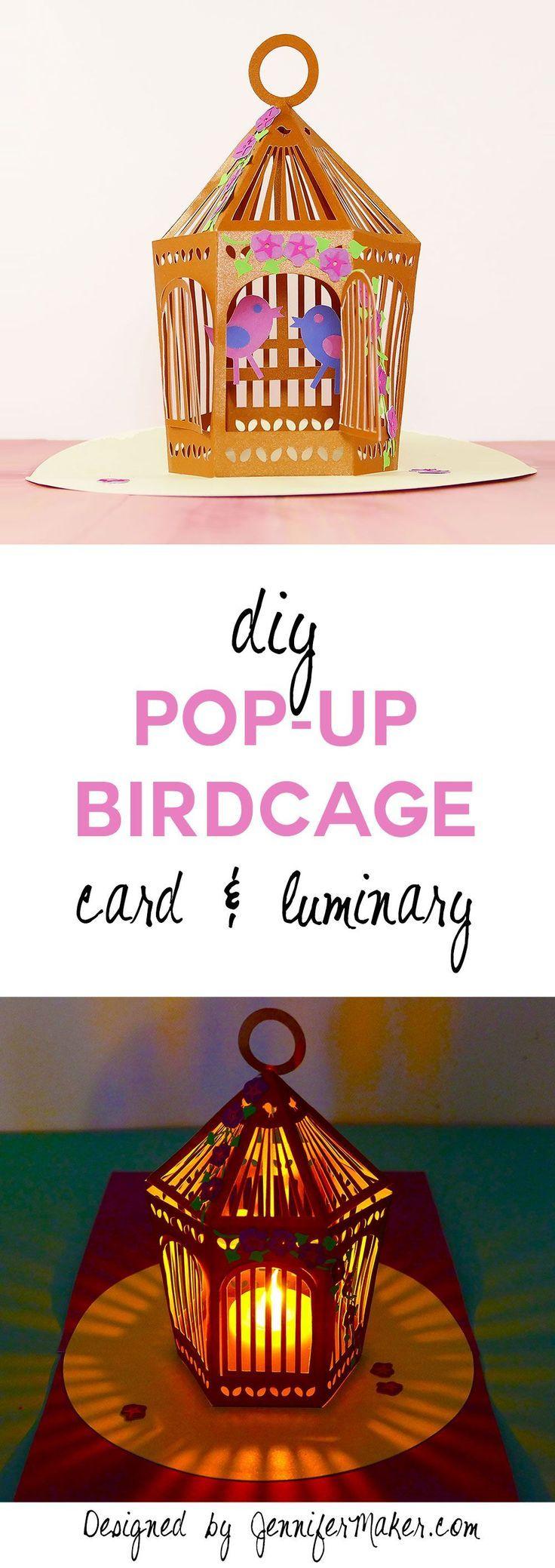Pop Up Birdcage Make A Card Or Luminary Jennifer Maker Pop Up Card Templates Handmade Cards Diy Pop Up Cards