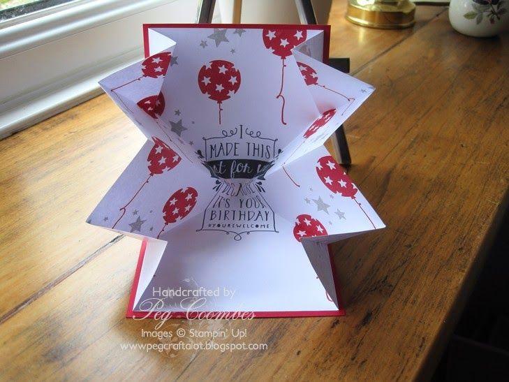 Stampin Up UK Demonstrator UK Pegcraftalot Order Stampin Up HERE: Balloon Bash Explosion Card Stampin' Up! UK Peg