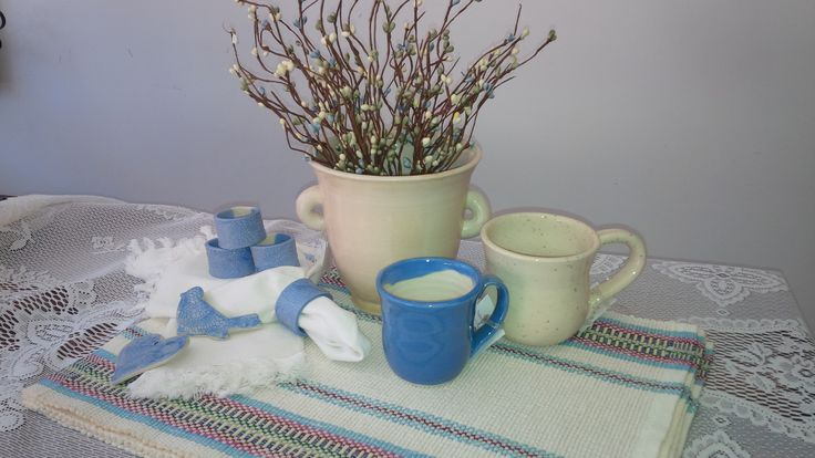 Hand Woven Placemats & Handmade Pottery ~ Beautiful Pairing. <3