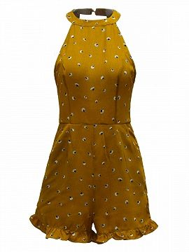 Shop Yellow Halter Floral Cut Away Backless Ruffle Hem Romper Playsuit from choies.com .Free shipping Worldwide.$17.09