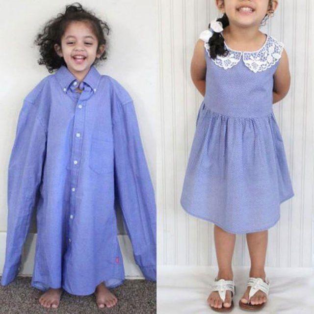 Chemise d'homme transformée en robe de petite fille