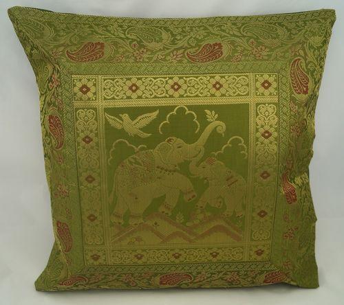 Brokat-Kissenbezug-5er Set,orientalisch-indisch, Elefanten, ohne Füllung