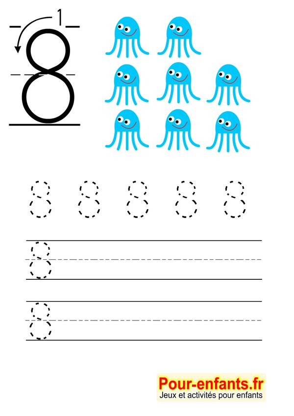 Apprendre à écrire les chiffres en maternelle gratuit cahier d'écriture à imprimer gratuitement Savoir écrire 8 huit