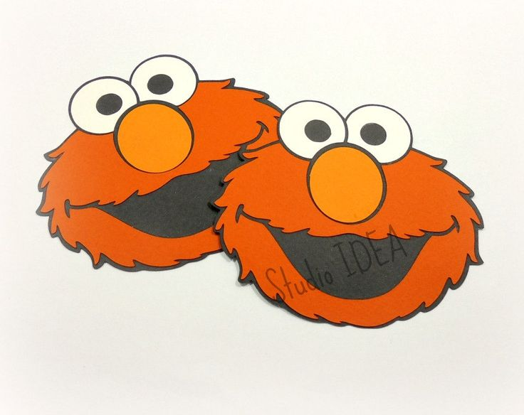"4"" Elmo Cutouts,Die cuts, Tags -Orange, Black Elmo Head Tags-or Choose Your Colors-Set of 12pcs, 24pcs by StudioIdea on Etsy"