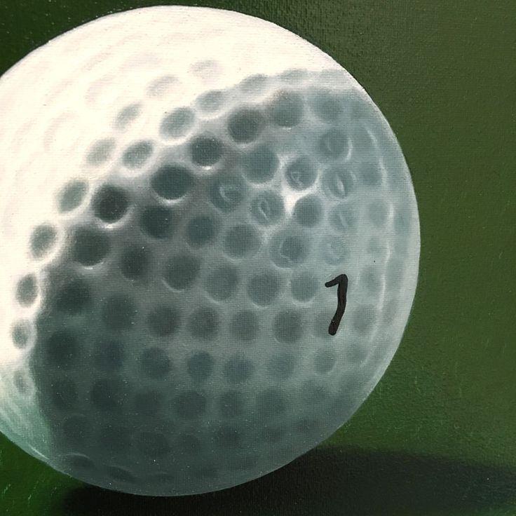 Dettaglio di pallina da golf, dipinta a mano a pennello con olio su tela, come una fotografia. | fluidofiume Art Gallery