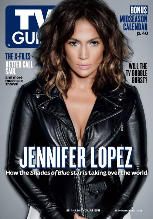 Jennifer Lopez wears a black jacket on the January 2016 cover of TV Guide Magazine