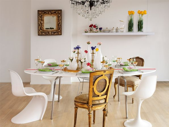 Eclectic Dining Room Mismatched Chairs
