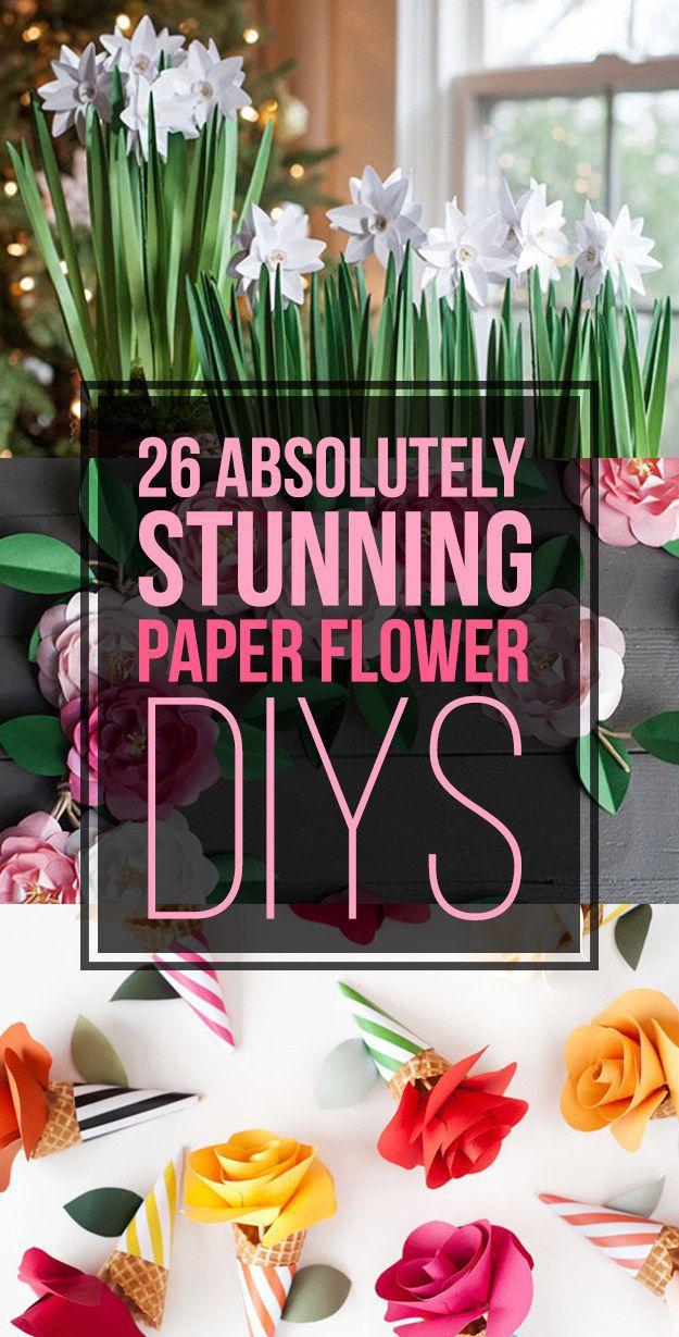 26 Absolutely Stunning Paper Flower DIYs http://www.buzzfeed.com/kollabora/ways-to-turn-paper-into-beautiful-flowers#.qsoW54dwA