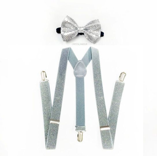 silver bowtie and suspenders set silver sequin bow by crystalAmour