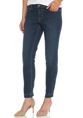New Directions Women's Skinny Dark Wash Jeans With Whiskers And Released Hem - Dark Blue - 12 Average