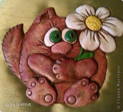 Поделка изделие Лепка котик с ромашкой Тесто соленое