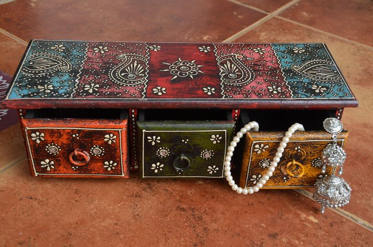 3 drawer wooden jewellery box - Online Shopping for For Her by indusaura-Gifts-indusaura