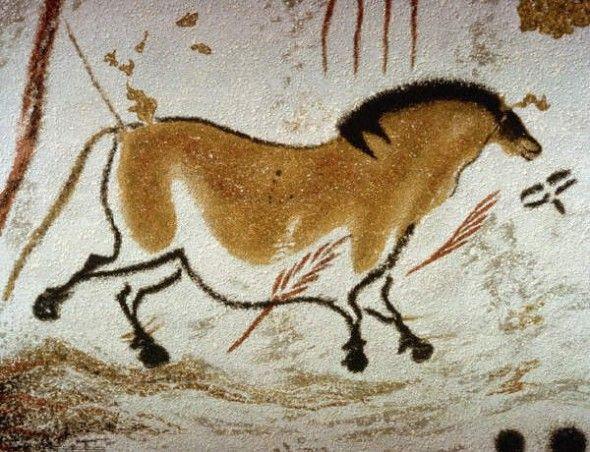 изображение лошади. наскальная живопись. Пещера Ласко, Франция