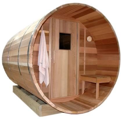 2.7m Ukko Barrel Sauna with overhang, traditional door and front bench