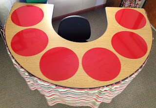 Vinyl used as dry-erase mats at small group table. Genius idea borrowed from Kinder Keri's Awesome Owls.