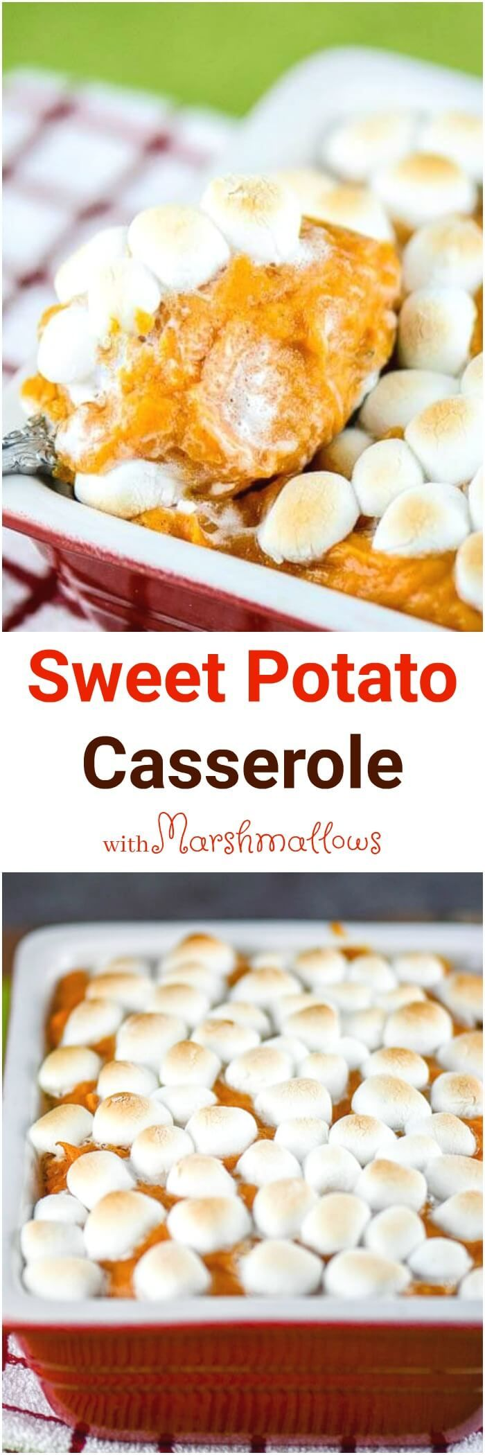 This Sweet Potato Casserole with Marshmallows, made with fresh sweet potatoes, has been a traditional Thanksgiving side dish in our family. via @flavormosaic