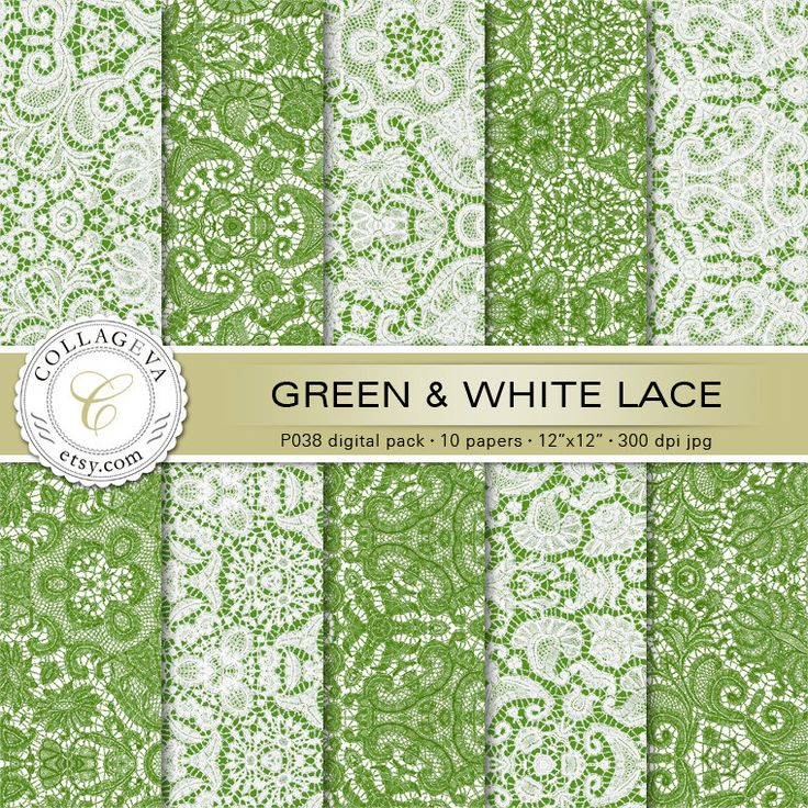 """Green & White Lace Digital Pack 10 Printable Sheets 12x12"""" Scrapbook Papers, Elegant Crochet, Shabby Chic, Elegant Wedding, Wall art (P038) by collageva on Etsy"""