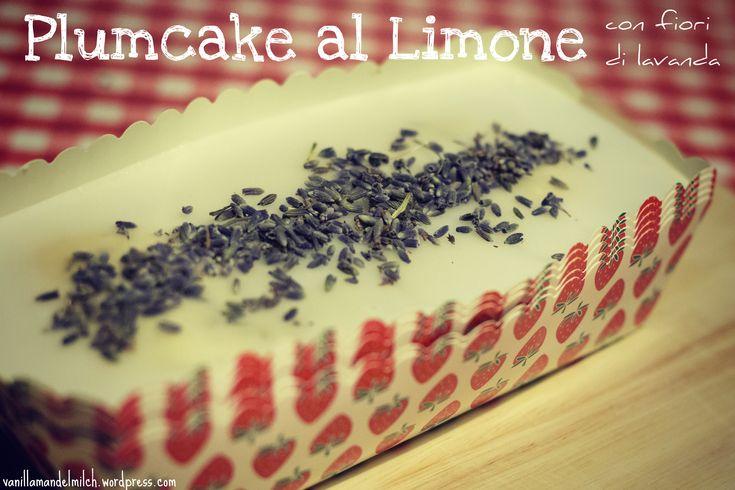 vegan lemon plumcake with lavender flowers