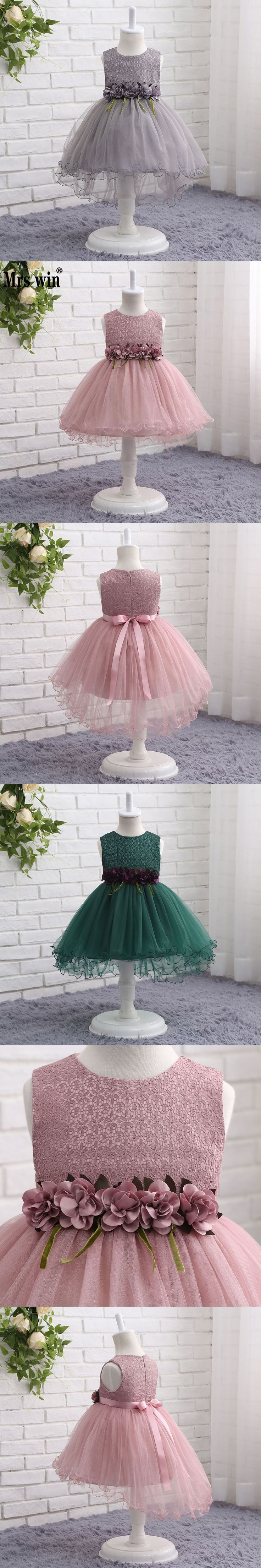 Ball Gown Flower Girls Dresses For Wedding Kids First Holy Communion Belt Ruffle Little Baby Pageant Dress 2017 Pink Dark GreenC