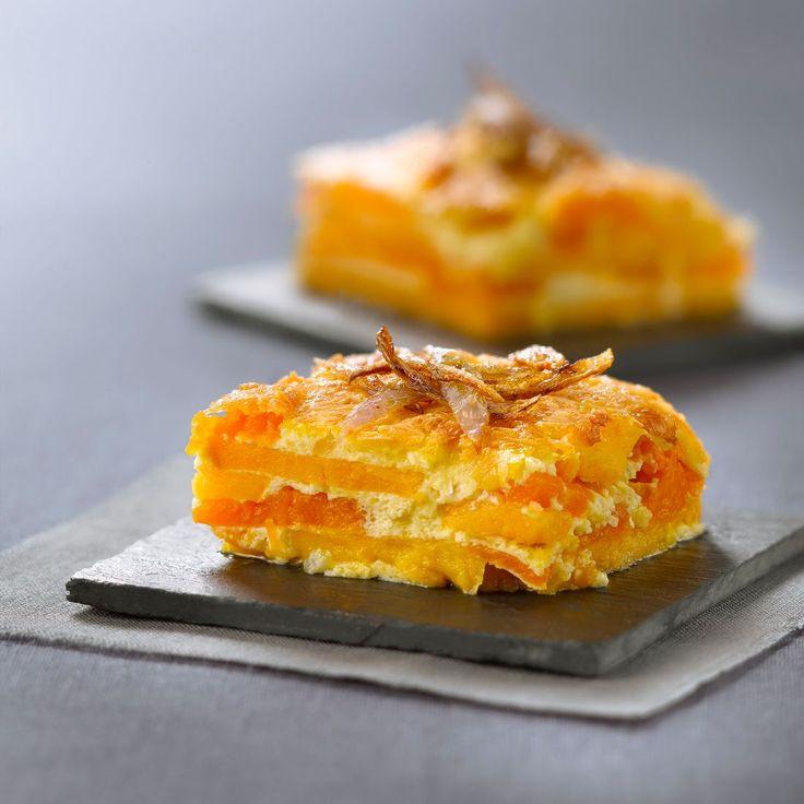Kürbis-Süßkartoffel-Gratin | http://eatsmarter.de/rezepte/kuerbis-suesskartoffel-gratin