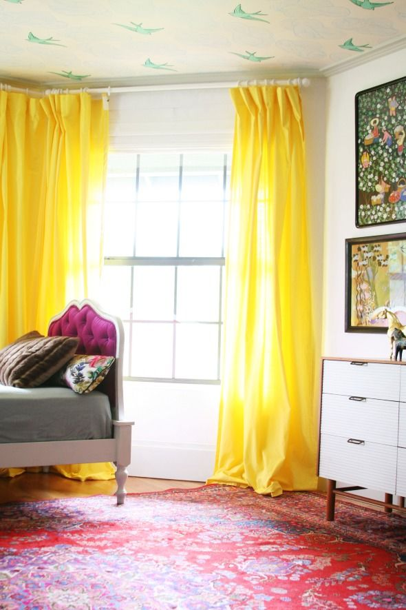 Daydream (Green) ceiling, bright yellow curtains, red rug | love