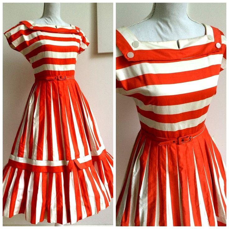 40s 50s - DEADSTOCK NWT - Precious Sailor Orange White Dress - W27 1/2 (70cm), €130