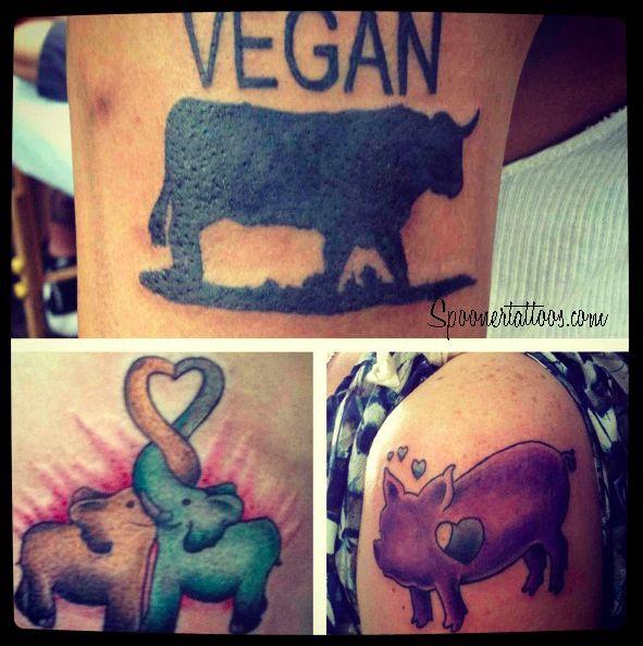 Vegan Tattoos! On vegans by vegan (James Spooner) with vegan ink!