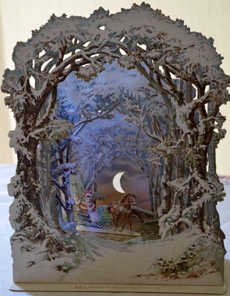 Magical Sleigh Ride Antique German Mica Card Victorian
