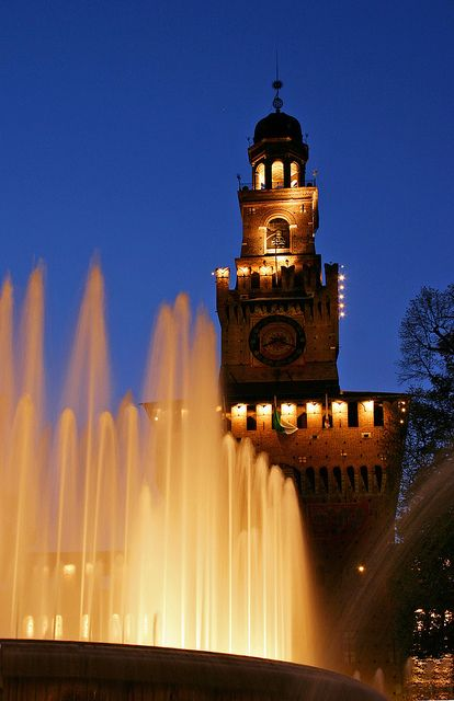 Piazza infront of Sforza Castle in Milan  Italia